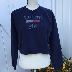 Vintage 90s Tommy Girl Crop Sweatshirt Size Large